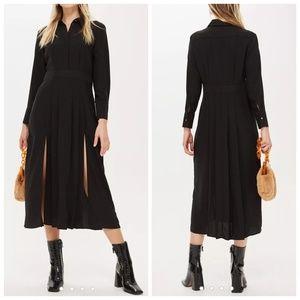 Topshop black pleated midi shirt dress